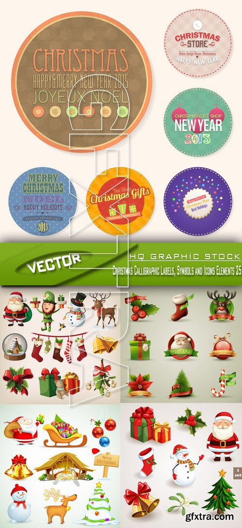 Stock Vector - Christmas Calligraphic Labels, Symbols and Icons Elements 25