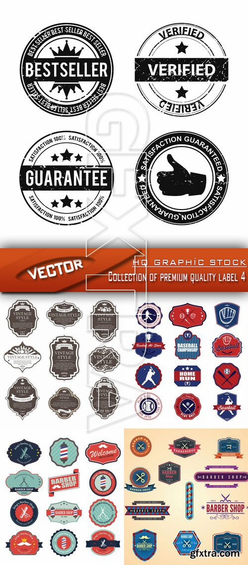 Stock Vector - Collection of premium quality label 4