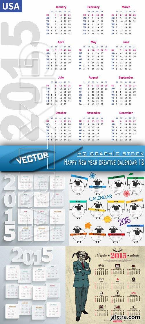 Stock Vector - Happy New year creative calendar 12