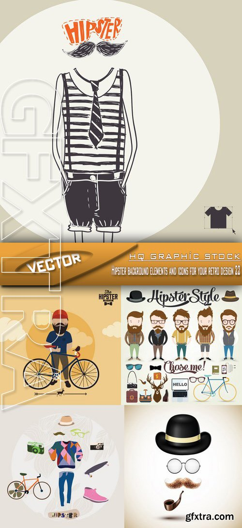 Stock Vector - Hipster backround elements and icons for your retro design 22