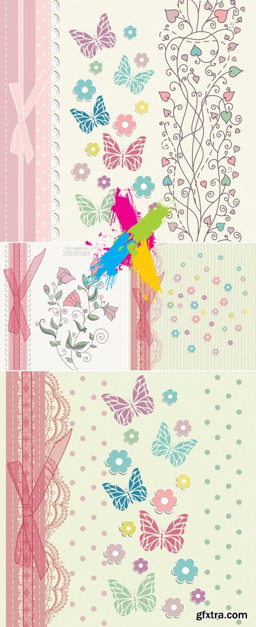 Cute Floral Cards Vector 4