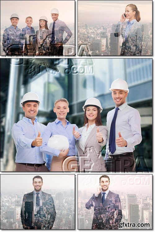 Happy businessmen in helmets over city background - Stock photo