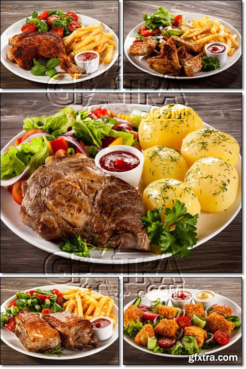 Grilled chicken, barbecued steak, legs with chips, boiled potatoes and vegetable salad - Stock photo