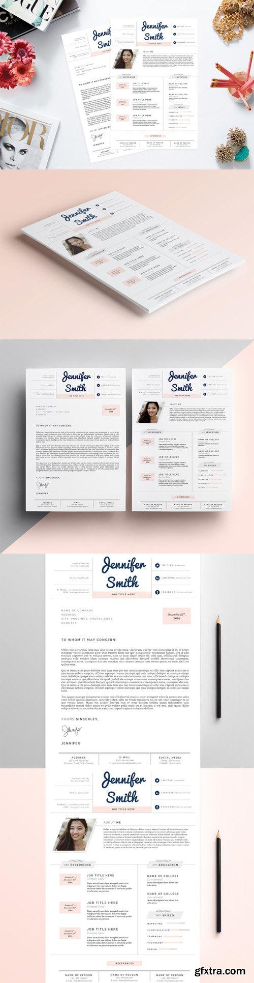 CreativeMarket - Feminine Resume & CV Template Pkg. 130321