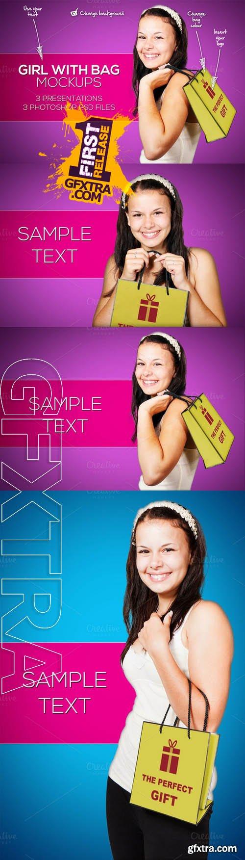 Girl with Bag and logo Mockups - Creativemarket 131767