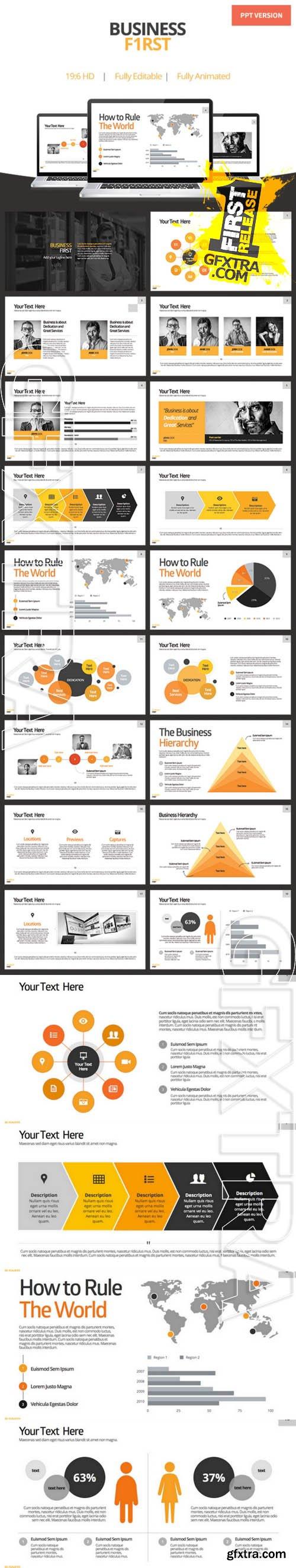Business First - Powerpoint Template - Creativemarket 85622