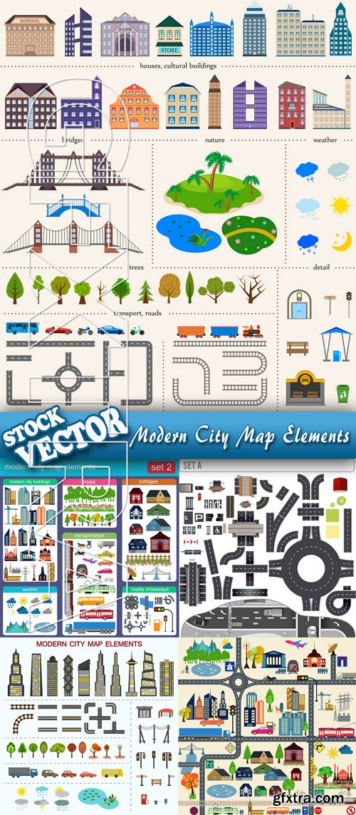 Stock Vector - Modern City Map Elements