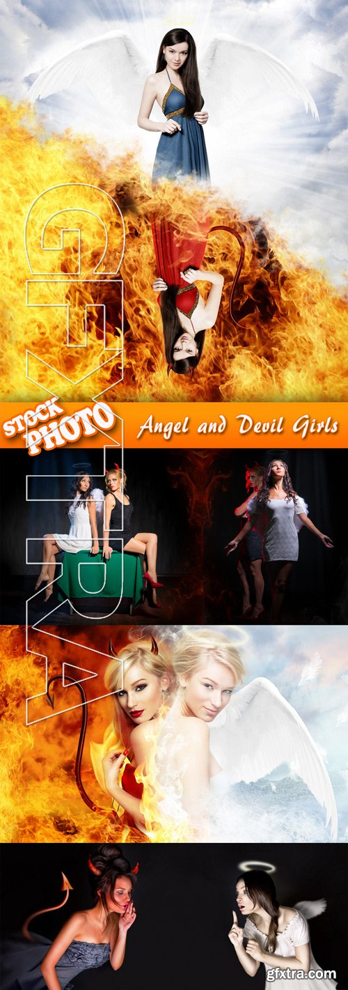 Stock Photo - Angel and Devil Girls