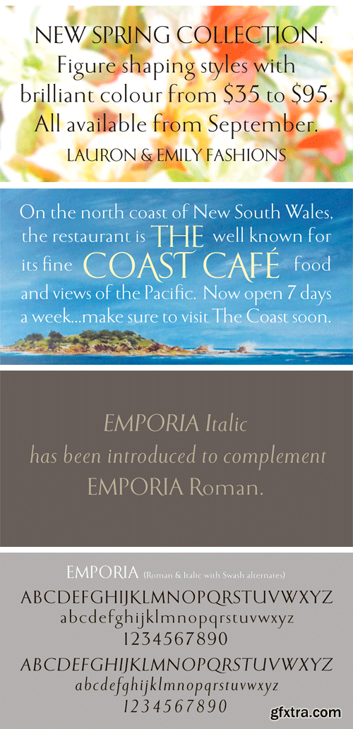 Emporia Roman Font Family - 2 Fonts $60