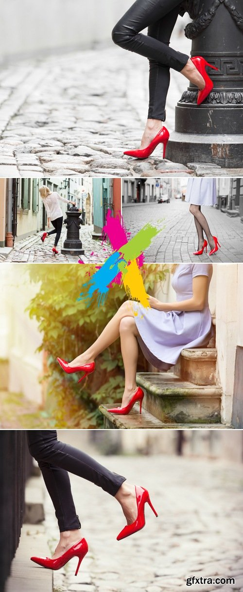 Stock Photo - Woman Wearing Red Shoes