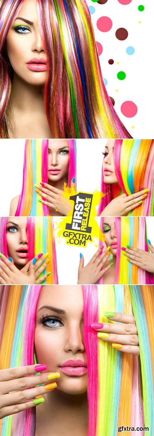 Stock Photo - Woman with Colorful Hair & Nails