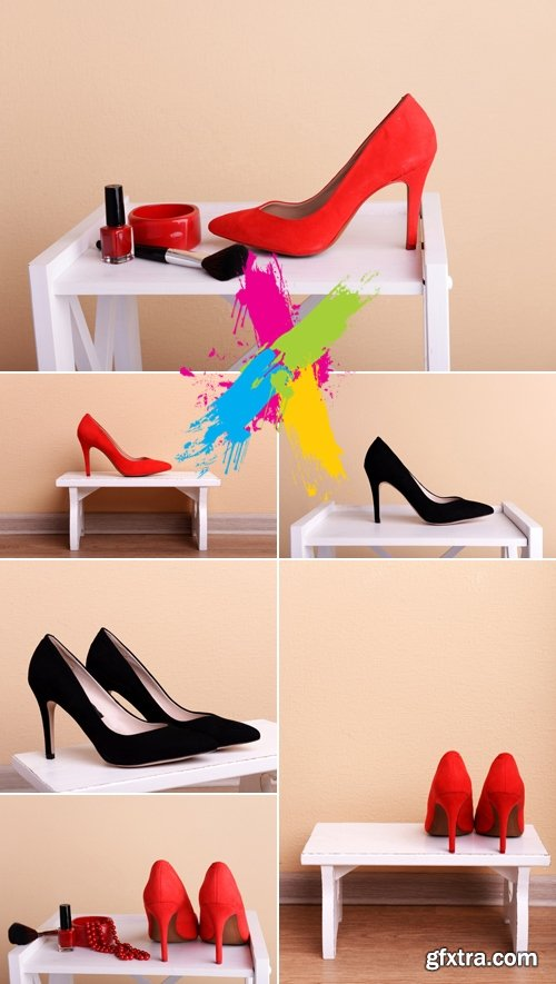Stock Photo - Red & Black Women's Shoes
