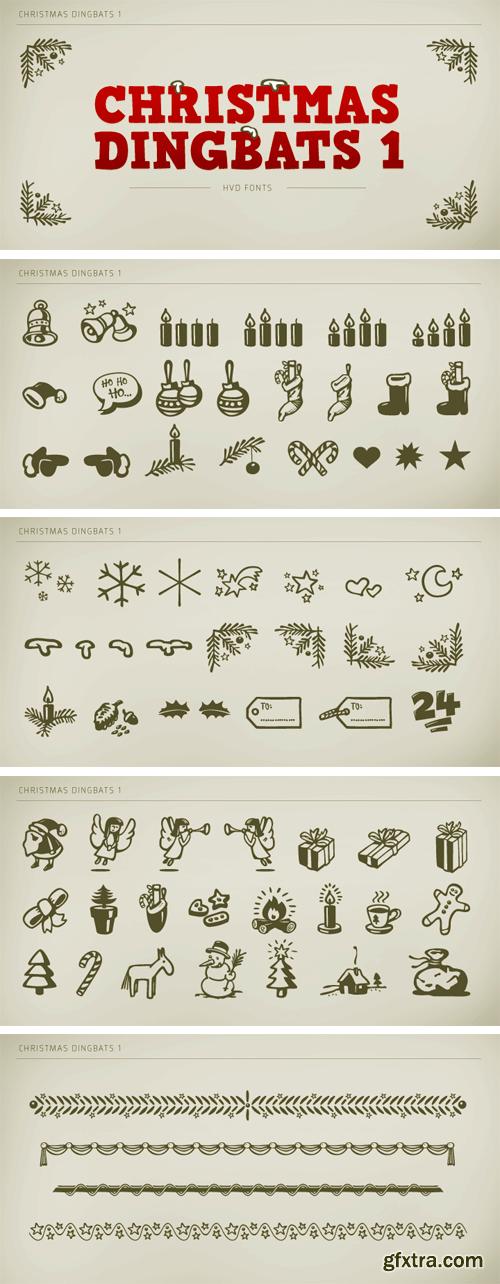Christmas Dingbats Font Family - 2 Fonts $50
