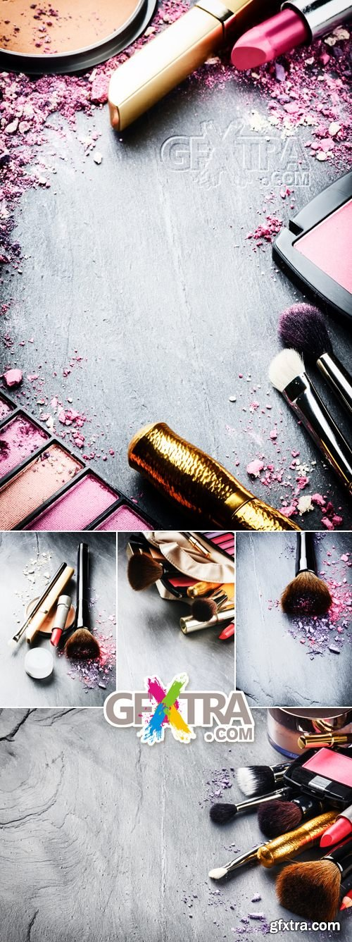 Stock Photo - Makeup Products on Wooden Background