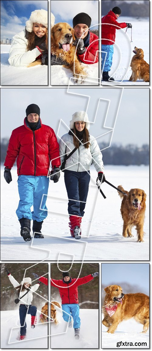 Young couple with dog fun - Stock photo