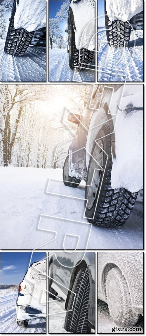 Snow tire. Car on the countryside road - Stock photo