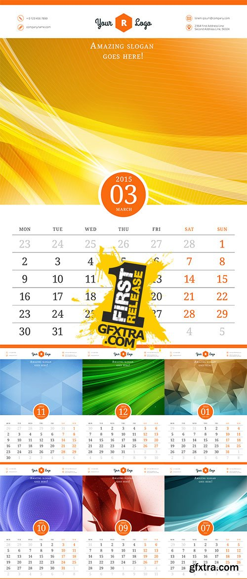 Stock Calendar 2015, Vector template with abstract background, Week starts monday