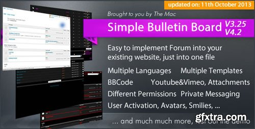 Simple Bulletin Board v3.25/v4.2 - CodeCanyon 58838