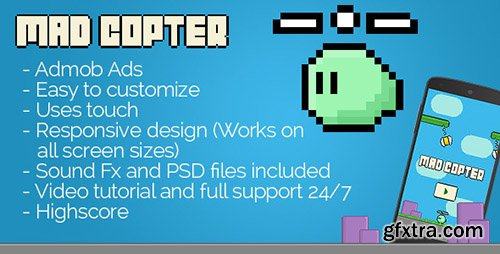 CodeCanyon - Mad Copter v1.2 - with Admob - Android Game + Interstitials + Leaderboards