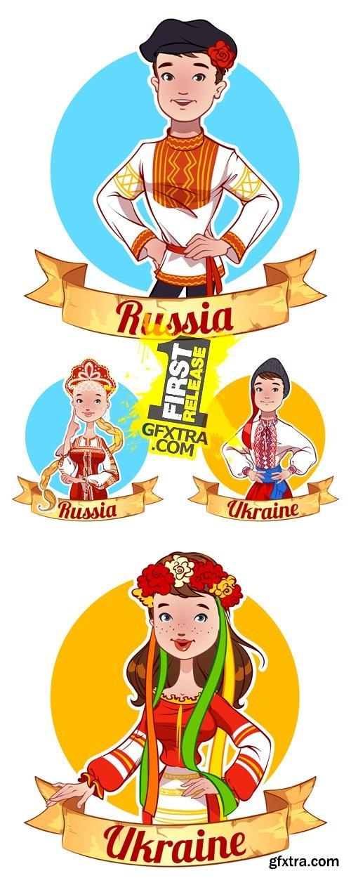 Russian & Ukrainian People Vector