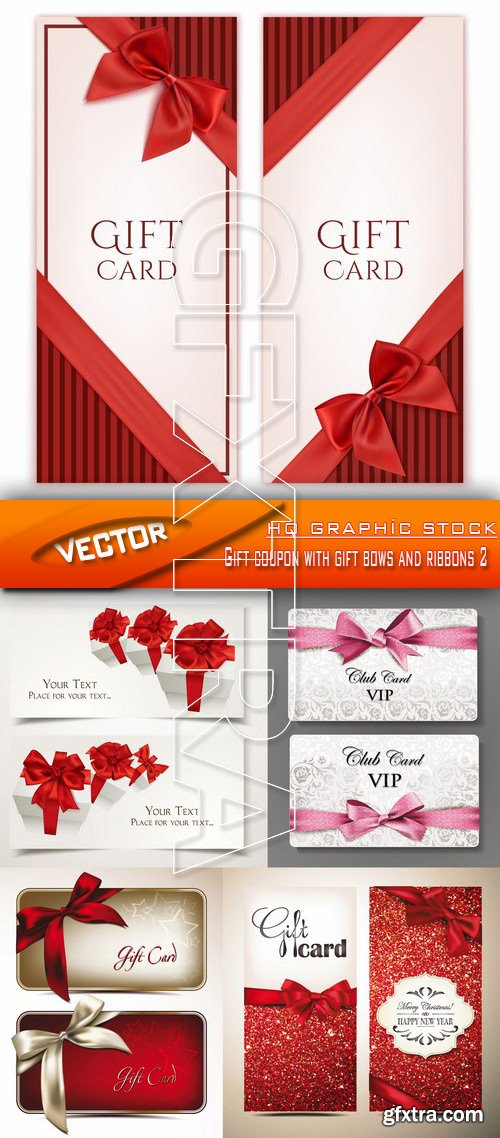 Stock Vector - Gift coupon with gift bows and ribbons 2