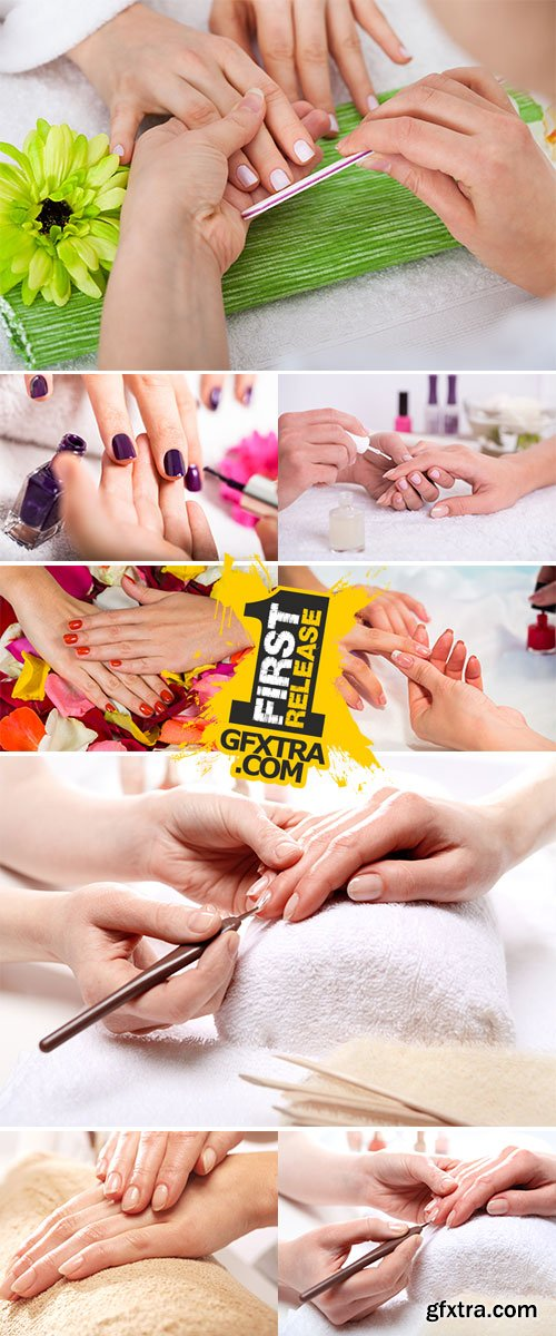 Stock Photo Treatment hand and nail care, the woman to a beautician for a manicure