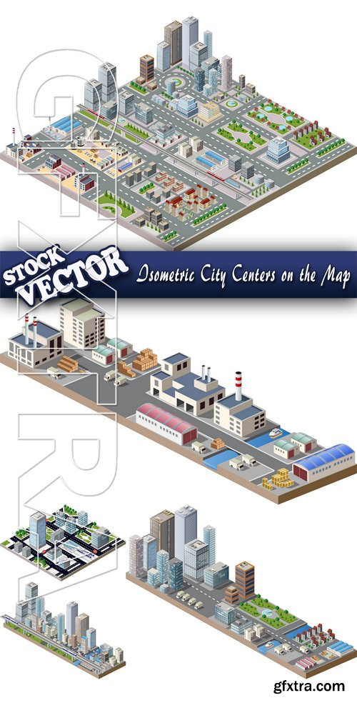Stock Vector - Isometric City Centers on the Map