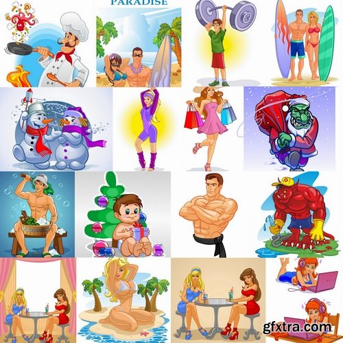 Collection of vector images of different cartoon characters 25 Eps