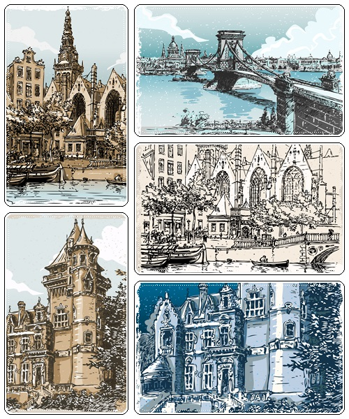 Vintage Hand Drawn Views of Old Town 7xEPS