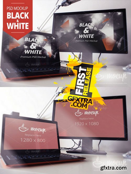 Screens PSD Mockup Black&White - CM 146119