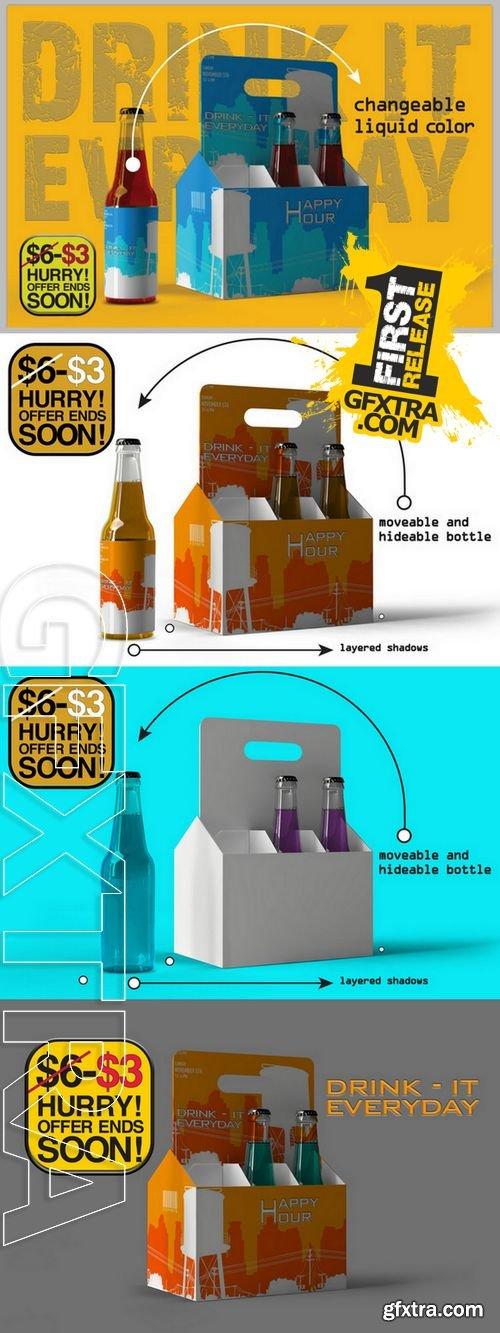 Six Pack Beer Bottle Mock Up - CM 147934