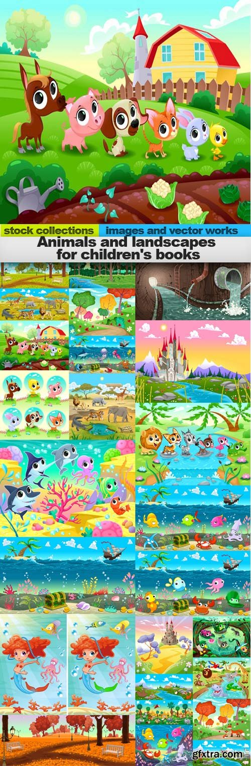 Animals and landscapes for children's books,25 x EPS