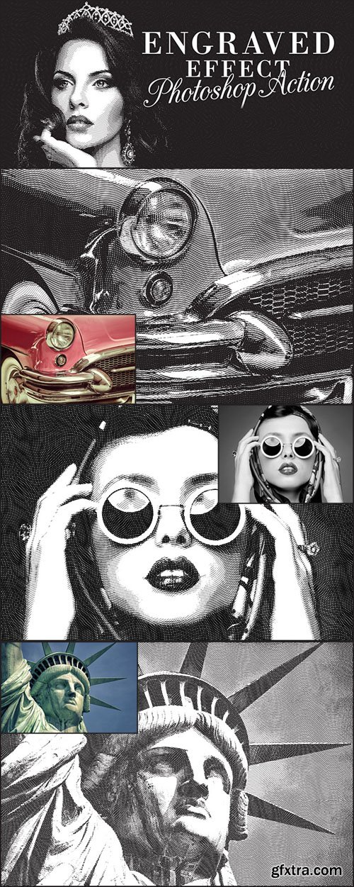 Engraved Illustration Effect Action for Photoshop