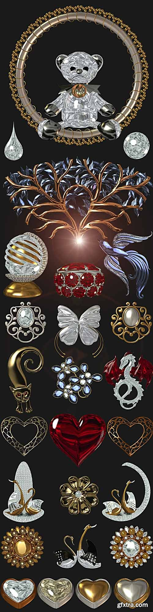 Precious ornament and 3D clipart on a transparent background