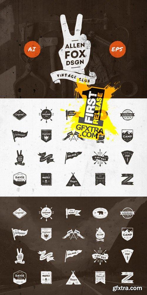 20 Vintage Grunge Badges - CM 126489