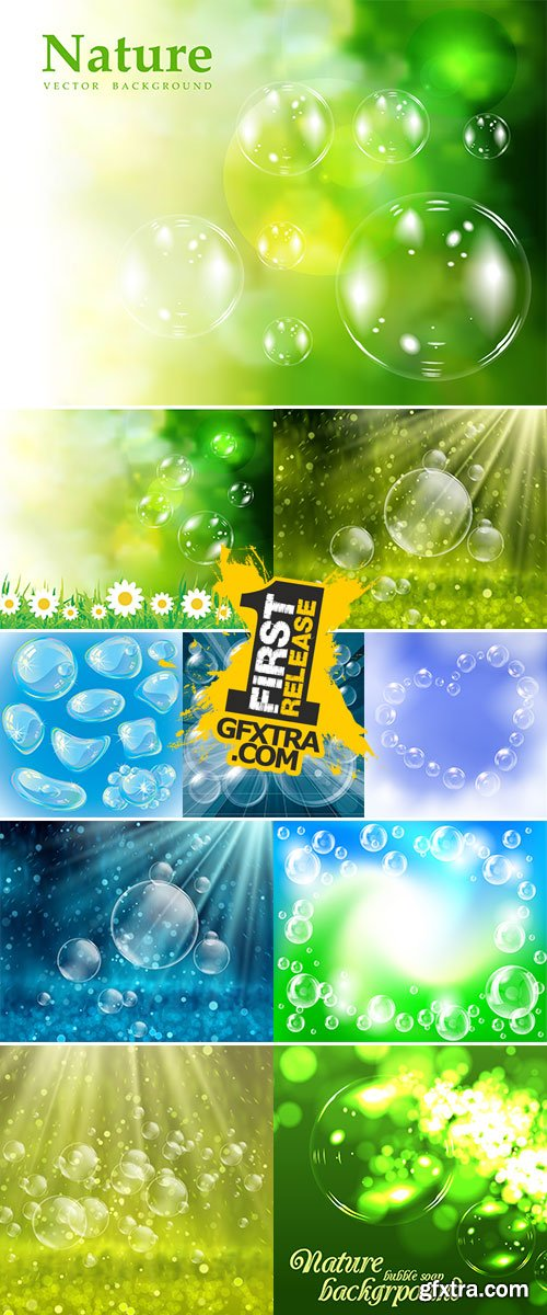 Stock Soap bubbles natural background