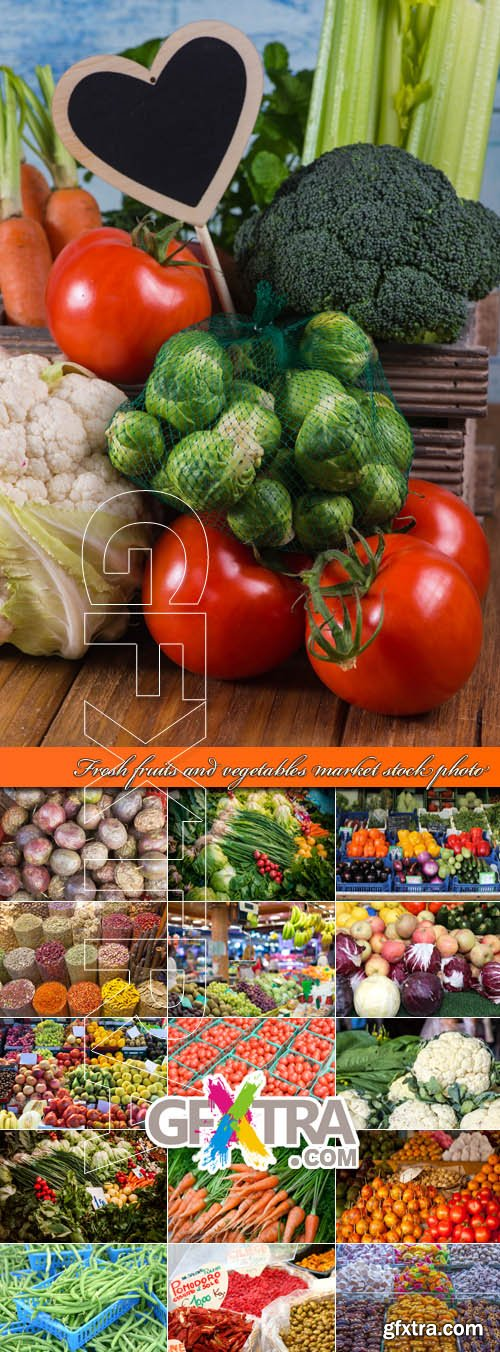 Fresh fruits and vegetables market stock photo