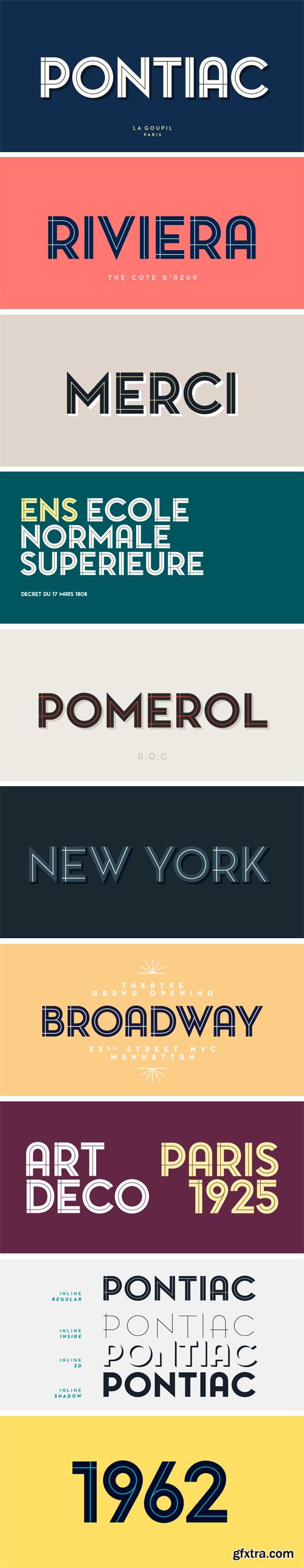 Pontiac Inline Font Family - 4 Fonts $15