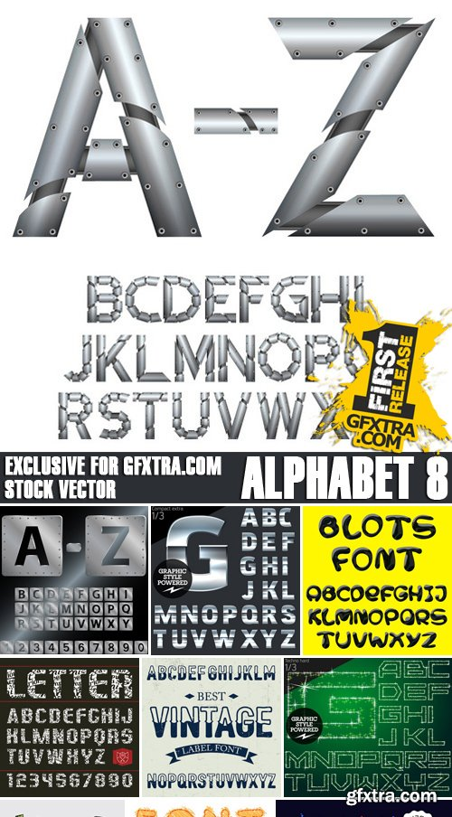 Stock Vectors - Alphabet 8, 25xEPS