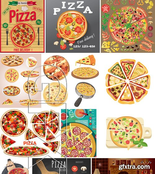 Stock Vectors - Pizza 3, 25xEPS