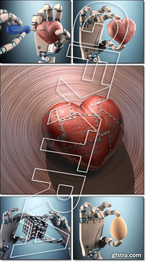 Robot: Binary Cube, Hand Egg, Heart Clipping path included - Stock photo