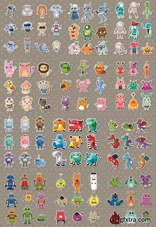 Stock Vector - Cartoon Monsters & Robots, 25EPS