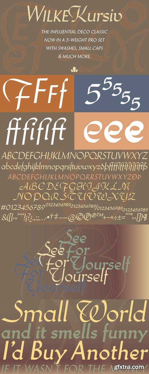 Wilke Kursiv Font Family $99.95