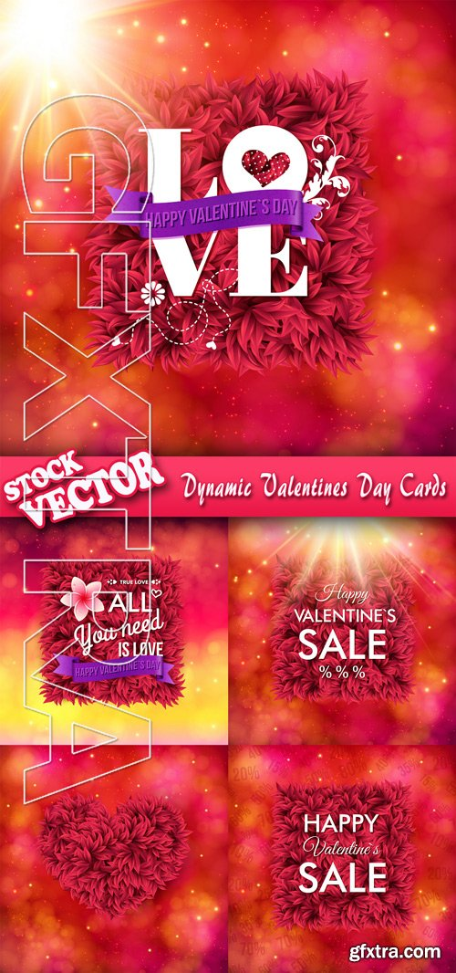 Stock Vector - Dynamic Valentines Day Cards