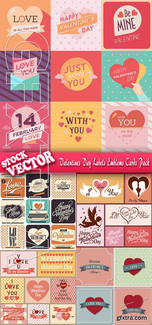 Stock Vector - Valentines Day Labels Emblems Cards Pack