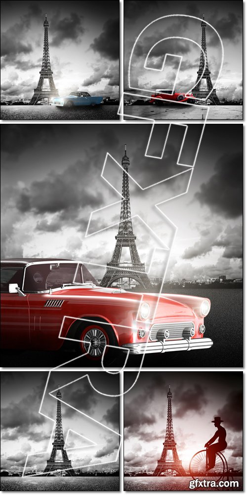 Effel Tower, Paris, France and retro red car. Black and white - Stock photo