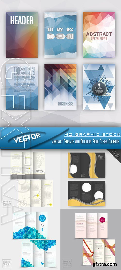 Stock Vector - Abstract Template with Brochure Print Design Elements