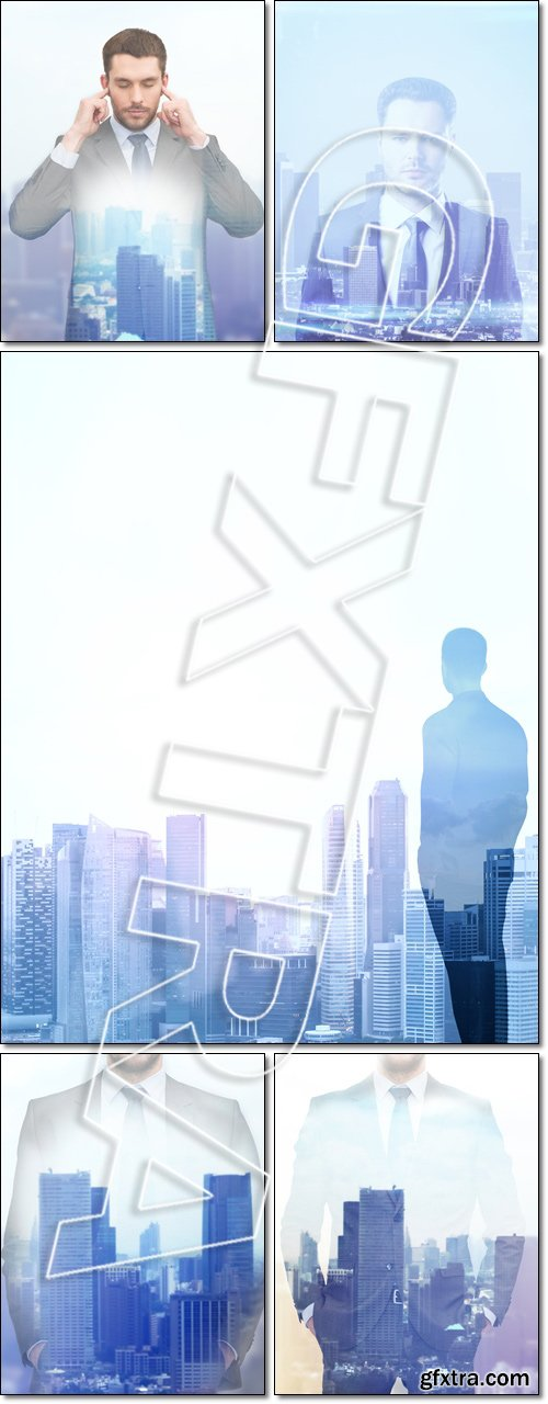 Double exposure of businessman and city, over city background - Stock photo