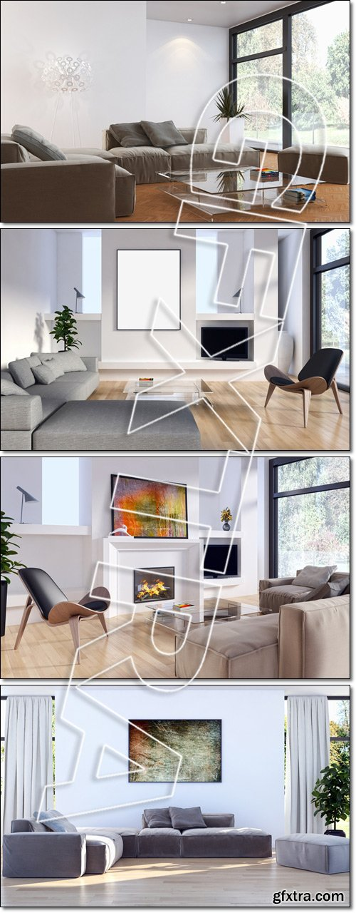 Modern living room (Beautiful sofa, fireplace and view from the window) - Stock photo