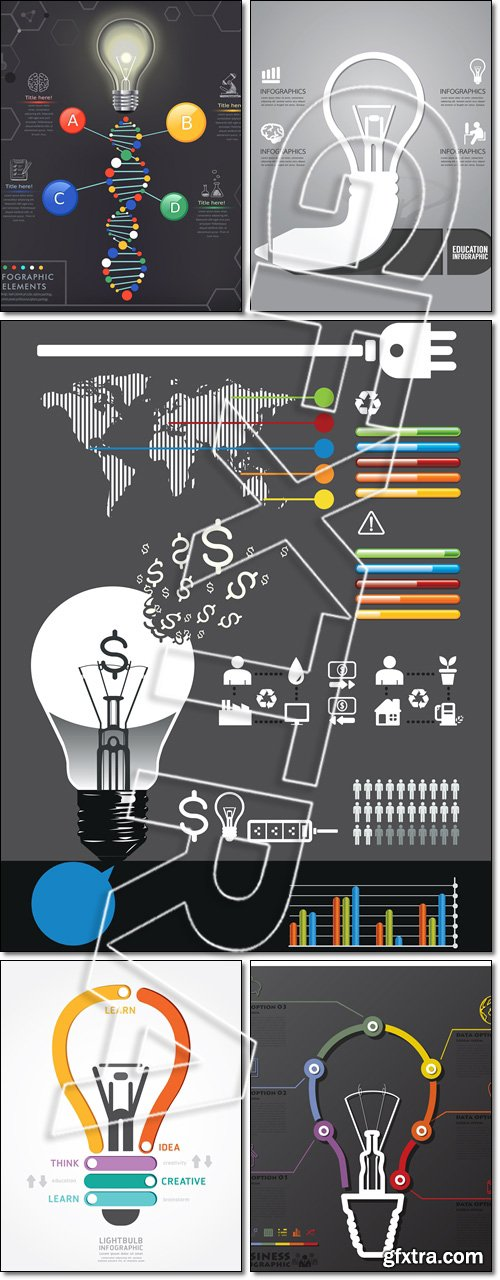 Energy infographic. Light Bulb Connection Timeline Business Infographic - Vector